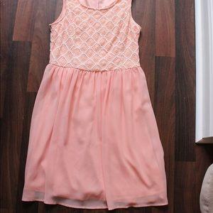 lace and chiffon coral dress